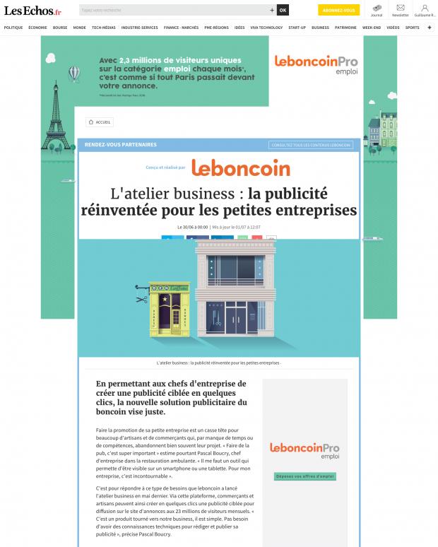 Leboncoin Avec Les Echos Opérations Spéciales Story Jungle